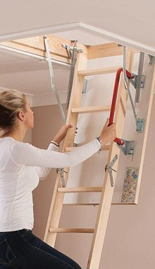 Keylite 4 section Timber loft ladder for smaller openings