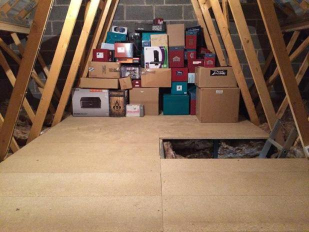 Storing Boxes in a loft with loft boarding
